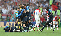 MOSCOW, July 15, 2018  Players of France celebrate victory after the 2018 FIFA World Cup final match between France and Croatia in Moscow, Russia, July 15, 2018. France defeated Croatia 4-2 and claimed the title. (Credit Image: © Fei Maohua/Xinhua via ZUMA Wire)