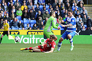 Southampton's Jay Rodriguez (on ground) scores the 1st goal past Reading keeper Adam Federici. Barclays Premier league, Reading v Southampton at the Madejski stadium in Reading on Saturday 6th April 2013. pic by Andrew Orchard, Andrew Orchard sports photography,