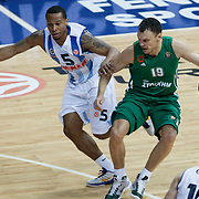 Fenerbahce Ulker's Curtis Jerrells (L) and Panathinaikos's Sarunas Jasikevicius (R) during their Euroleague Top 16 week 3 game 3 basketball match Fenerbahce Ulker between Panathinaikos at Fenerbahce Ulker Sports Arena in Istanbul Turkey on Thursday 02 February 2012. Photo by TURKPIX