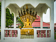 20 JUNE 2016 - DON KHONE, CHAMPASAK, LAOS:  A statue of the Buddha at Wat Khone Nua in Don Khone village on Don Khone Island. Don Khone Island, one of the larger islands in the 4,000 Islands chain on the Mekong River in southern Laos. The island has become a backpacker hot spot, there are lots of guest houses and small restaurants on the north end of the island.    PHOTO BY JACK KURTZ