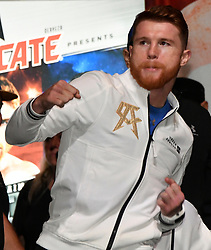 Sept 15,2017. Las Vegas, NV. Mexico's  Canelo Alvarez weighs in at 160 pounds at todays weigh in at the MGM grand hotel Friday.  Canelo Alvarez will be fighting GGG Saturday at the T-Mobile arena for the WBC,WBA,IBF,IBO ring middleweight titles..Photo by Gene Blevins/LA DailyNews/SCNG/ZumaPress. (Credit Image: © Gene Blevins via ZUMA Wire)