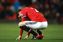 Manchester United's Victor Lindelof appears dejected after the final whistle