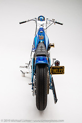 Jack Deagazio built this custom blue digger in memory of Arlen Ness.  It has an original ness frame, and lots of Arlen style. Photographed by Michael Lichter in Sturgis, SD. August 1, 2019. ©2019 Michael Lichter