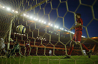 Photo: Jed Wee.<br /> Middlesbrough v FC Basle. UEFA Cup. Quarter-Final. 06/04/2006.<br /> <br /> Middlesbrough's Chris Riggott (R) and goalkeeper Mark Schwarzer watch the ball hit the back of their net in despair.