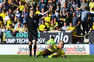 Burton Albion  forward Liam Boyce (27) is fouled during the EFL Sky Bet League 1 match between Burton Albion and Scunthorpe United at the Pirelli Stadium, Burton upon Trent, England on 29 September 2018.
