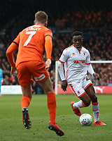 Blackpool's Marc Bola takes on Luton Town's Jack Stacey<br /> <br /> Photographer David Shipman/CameraSport<br /> <br /> The EFL Sky Bet League One - Luton Town v Blackpool - Saturday 6th April 2019 - Kenilworth Road - Luton<br /> <br /> World Copyright © 2019 CameraSport. All rights reserved. 43 Linden Ave. Countesthorpe. Leicester. England. LE8 5PG - Tel: +44 (0) 116 277 4147 - admin@camerasport.com - www.camerasport.com