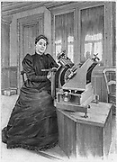 Dorothea Klumpke Roberts (1861-1942), American mathematician and astronomer. Roberts at work on the Carte du Ciel at the Paris Observatory.  She is using a plate-measuring microscope to measure positions of star images on photographic plates.  She was the first woman to make astronomical observations from a balloon. From 'La Science Illustree'. (Paris, December 1903). Engraving.