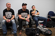DALLAS, TX - MARCH 14:  Sam Stout (center) waits backstage before his fight against Ross Pearson during UFC 185 at the American Airlines Center on March 14, 2015 in Dallas, Texas. (Photo by Cooper Neill/Zuffa LLC/Zuffa LLC via Getty Images) *** Local Caption *** Sam Stout