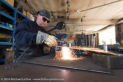Metal artist Kendall Polster, also known as the Weld Guy, in his studio during the Milwaukee Rally . Milwaukee, WI, USA. Monday, September 5, 2016. Photography ©2016 Michael Lichter.