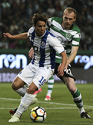 """April 19, 2018 - Na - Lisbon, 04/18/2018 - Sporting Clube de Portugal received this evening the Futebol Clube do Porto in the stadium of Alvalade, in game to count for the second leg of the Portuguese Cup 2017/2018 semi-final. Ã""""liver Torres, Jérémy Mathieu  (Credit Image: © Atlantico Press via ZUMA Wire)"""