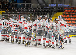 12.01.2021, Keine Sorgen Eisarena, Linz, AUT, ICE, iClinic Bratislava Capitals vs Black Wings 1992, 30. Runde, im Bild das Team der iClinic Bratislava Capitals feiert den Heimsieg in der Auswärtshalle // during the bet-at-home ICE Hockey League 30th round match between iClinic Bratislava Capitals and Black Wings 1992 at the Keine Sorgen Eisarena in Linz, Austria on 2021/01/12. EXPA Pictures © 2020, PhotoCredit: EXPA/ Reinhard Eisenbauer