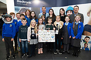 24/11/2019 repro free:<br />   XXX Medtronic   with Ronan Rogers - Senior R&D Director, Medtronic awardees Milltown  national school and Paul Mee, Chairperson, Galway Science and Technology Festival,  at their final day exhibition  at NUI Galway where over 20,000 people attended exhibition stands  from schools to Multinational Companies . Photo:Andrew Downes, xposure