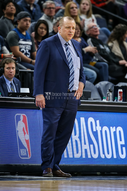 Feb 15, 2018; Minneapolis, MN, USA; Minnesota Timberwolves head coach Tom Thibodeau looks on during the third quarter against the Los Angeles Lakers at Target Center. Mandatory Credit: Brace Hemmelgarn-USA TODAY Sports