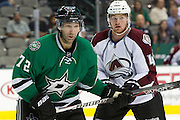 DALLAS, TX - SEPTEMBER 26:  Erik Cole #72 of the Dallas Stars battles for position against Brad Malone #42 of the Colorado Avalanche in an NHL preseason game on September 26, 2013 at the American Airlines Center in Dallas, Texas.  (Photo by Cooper Neill/Getty Images) *** Local Caption *** Erik Cole; Brad Malone