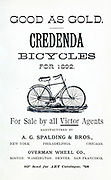 Advert for 'Credenda Bicycles (from 1892) Manufactured by A. G. Spalding & Bros and Overman Wheel Co.' From Wheels and Wheeling; An indispensable handbook for cyclists, with over two hundred illustrations by Porter, Luther Henry. Published in Boston in 1892