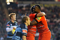 Vereniki Goneva (Leicester) congratulates team-mate Ben Youngs for scoring Tigers' second try of the match - Photo mandatory by-line: Patrick Khachfe/JMP - Mobile: 07966 386802 29/08/2014 - SPORT - RUGBY UNION - Leicester - Welford Road - Leicester Tigers v Cardiff Blues - Pre-Season Friendly