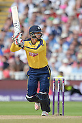 Danny Briggs during the NatWest T20 Blast Semi Final match between Hampshire County Cricket Club and Lancashire County Cricket Club at Edgbaston, Birmingham, United Kingdom on 29 August 2015. Photo by David Vokes.