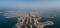 Aerial view of The Palm Jumeirah in Dubai, United Arab Emirates.