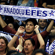 Anadolu Efes's Supporters fans during their Euroleague Top 16 game 8 basketball match Anadolu Efes between CSKA Moscow at the Abdi Ipekci Arena in Istanbul at Turkey on Friday, February, 22, 2013. Photo by TURKPIX