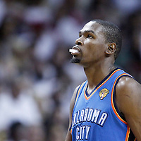 21 June 2012: Oklahoma City Thunder small forward Kevin Durant (35) is seen during the Miami Heat 121-106 victory over the Oklahoma City Thunder, in Game 5 of the 2012 NBA Finals, at the AmericanAirlinesArena, Miami, Florida, USA. The Miami Heat wins the series 4-1.