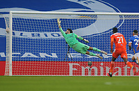 Football - 2020 /2021 Emirates FA Cup - Round Four - Brighton & Hove Albion vs Blackpool - The Amex Stadium<br /> <br /> Bissouma of Brighton powers in a long range shot to score his first half goal past Blackpool goalkeeper, Maxwell<br /> <br /> COLORSPORT/ANDREW COWIE