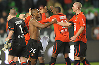 FOOTBALL - FRENCH CHAMPIONSHIP 2010/2011 - L1 - STADE RENNAIS v PARIS SAINT GERMAIN - 05/02/2011 - PHOTO PASCAL ALLEE / DPPI - JOY RENNES AFTER THE END OF MATCH