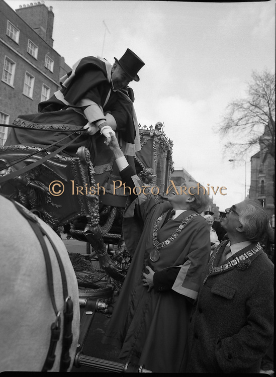 St Patrick's Day Parade.1982.17/03/1982.03.17.1982.17th March 1982..Lord Mayor Fitzgerald greets his driver Mr Mc Grath. Also in the picture is Mr Polak,Burgomaster of Amsterdam.