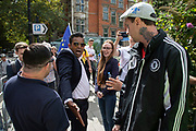 Leave protesters argue with remainers in Westminster on the day that Parliament reconvenes after summer recess to debate and vote on a bill to prevent the UK leaving the EU without a deal at the end of October, on 3rd September 2019 in London, England, United Kingdom. Today Prime Minister Boris Johnson will face a showdown after he threatened rebel Conservative MPs who vote against him with deselection, and vowed to aim for a snap general election if MPs succeed in a bid to take control of parliamentary proceedings to allow them to discuss legislation to block a no-deal Brexit.