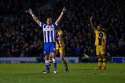 Goal, Tomer Hemed of Brighton & Hove Albion scores his third goal, Brighton & Hove Albion 4-0 Fulham - Mandatory byline: Jason Brown/JMP - 07966 386802 - 15/04/2016 - FOOTBALL - American Express Community Stadium - Brighton,  England - Brighton & Hove Albion v Fulham - Championship