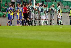 Players during football match between NK Olimpija and NK Maribor in 5th Round of Prva liga NZS 2012/13, on August 11, 2012 in SRC Stozice, Slovenia. (Photo by Urban Urbanc / Sportida.com)