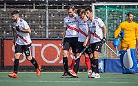 AMSTELVEEN -  Mirco Pruyser (Amsterdam) , Brent van Bijnen (Amsterdam) Nicolas Poncelet (Amsterdam)  , Trent Mitton (Amsterdam) heeft gescoord  tijdens de hockey hoofdklasse competitiewedstrijd  heren, Amsterdam-HC Tilburg (3-0).  COPYRIGHT KOEN SUYK