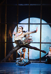 """© Licensed to London News Pictures. 07/12/2012. London, England. Centre: Liam Mower as Tantrum, the Fairy of Temperament. World premiere of Matthew Bourne's """"Sleeping Beauty"""" at Sadler's Wells. Running from 4 December 2012 to 26 January 2013. Dancers of this section: Christopher Marney, Mari Kamata, Kate Lyons, Joe Walkling, Sophia Hurdley and Liam Mower. Photo credit: Bettina Strenske/LNP"""