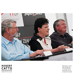 Barrie Osborne;Amanda McLaren;Jim Anderton at the Launch of the Bruce McLaren Movie project at the A1 Grand Prix of New Zealand at the Taupo Motorsport Park, Taupo, New Zealand.