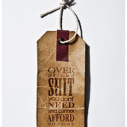 A humours and sarcastic image depicting an honest and blunt product price tag aimed at a materialistic consumerism marketplace.