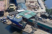 Nederland, Groningen, Gemeente Hoogezand-Sappemeer, 27-08-2013; Foxhol, scheepswerf De Hoop Foxhol. Werf voor bouw van zeeschepen met karakteristiek dwarshelling.<br /> De Hoop Foxhol  Shipyards. Yard for sea vessels, sideway-launching yard.<br /> luchtfoto (toeslag op standaard tarieven);<br /> aerial photo (additional fee required);<br /> copyright foto/photo Siebe Swart.