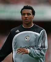 Photo: Steve Bond.<br />Arsenal v Derby County. The FA Barclays Premiership. 22/09/2007. Surprise sub Giles Barnes warms up