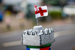 © Licensed to London News Pictures. 13/05/2018. Thirsk UK. Picture shows a woollen Windsor Castle. The Thirsk Yarn bombers have decorated the town centre of Thirsk in North Yorkshire this morning with Prince Harry & Megan Markle wedding related woollen creations to celebrate the upcoming royal wedding at the weekend. Photo credit: Andrew McCaren/LNP