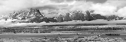 A buckrail fence, elk and a stormy sky creat a black and white mood of the Grand  Teton Landscape in Jackson Hole Wyoming, this is a high resolution image that can be printed at 48 inches wide.