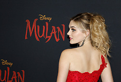 Meg Donnelly at the World premiere of Disney's 'Mulan' held at the Dolby Theatre in Hollywood, USA on March 9, 2020.
