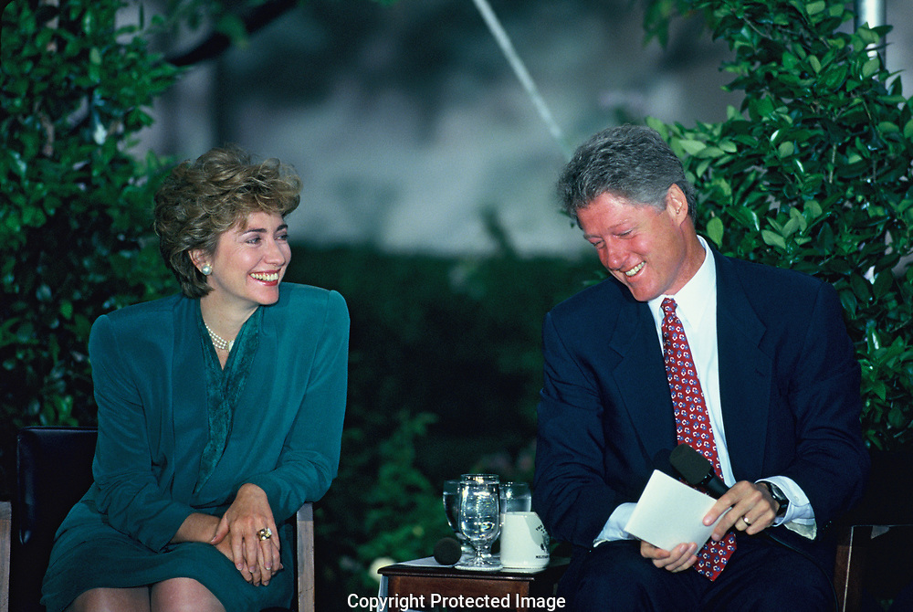 Bill and Hillary Clinton happy at an event at the White House<br />Photo by Dennis Brack