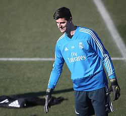 February 8, 2019 - Madrid, Spain - Real Madrid's Belgian goalkeeper Thibaut Courtois attends a training session at the club's training ground in the outskirts of Madrid on February 8, 2019 Before The Liga match against Atletico Madrid. (Credit Image: © Raddad Jebarah/NurPhoto via ZUMA Press)