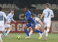 Effiong Nsungusi (HB Køge) under kampen i 1. Division mellem HB Køge og FC Helsingør den 4. december 2020 på Capelli Sport Stadion i Køge (Foto: Claus Birch).
