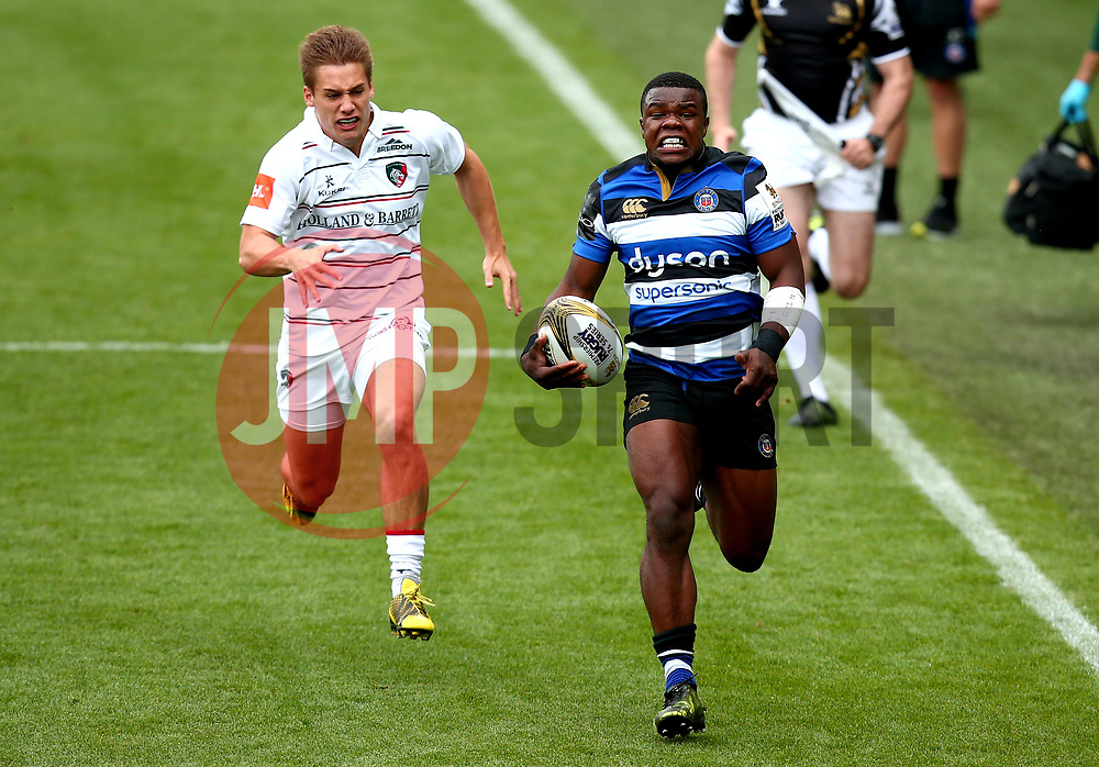 Levi Davis of Bath Rugby goes past Tom Ffitch of Leicester Tigers - Mandatory by-line: Robbie Stephenson/JMP - 29/07/2017 - RUGBY - Franklin's Gardens - Northampton, England - Leicester Tigers v Bath Rugby - Singha Premiership Rugby 7s