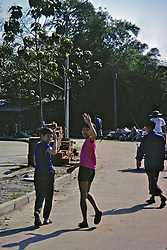 Kids On Street Waving