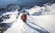 """Bill Anderson leads a team of skiers on to the east ride of Buck Mountain during the Exum Mountain Guides """"Live to Ski"""" camp in Grand Teton National Park in Jackson, Wyoming.<br /> (Photo by David Stubbs)"""