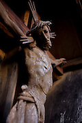 Detail of a Jesus crucifix in Pransasores, a Dolomites hamlet in south Tyrol, Italy.