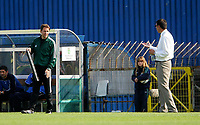 Photo: Andrew Unwin.<br />Northern Ireland v Azerbaijan. FIFA World Cup Qualifying match. 03/09/2005.<br />Northern Ireland's manager, Lawrie Sanchez (R), talks to the fourth official, Milan Karadzic (L).