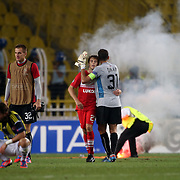 Spartak Moscow's celebrating victory during their UEFA Champions League Play-Offs, 2nd leg soccer match Fenerbahce between Spartak Moscow at Sukru Saracaoglu stadium in Istanbul Turkey on Wednesday 29 August 2012. Photo by TURKPIX