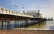 Brighton Pier, on the shoreline of the South Coast in England, United Kingdom