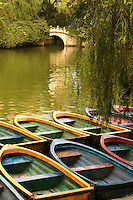 Colorful boats at Renmin Park or Peoples Park in Chengdu.  Renmin Park has many teahouses, a large pond, pleasure boats and lots of greenery right in the center of Chengdu.